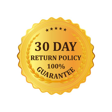 Gold premium 30 Day Return Policy golden label. Gold shiny emblem. Stock vector illustration on white isolated background.