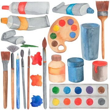 watercolor illustration, paints and brushes, materials for the artist, isolate on a white background