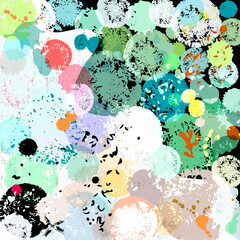 abstract background, with circles, strokes and splashes, grungy