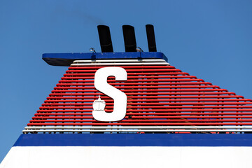 ROSTOCK, GERMANY - JUNE 14, 2020: Stena Line logo at the funnel of ferry MECKLENBURG-VORPOMMERN. Stena Line is one of the largest ferry operators in the world.