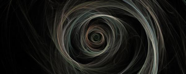 Tuinposter Fractal waves Spinning fractal burst on black background