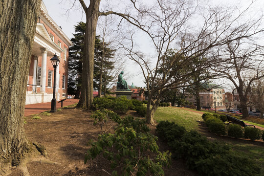 Spring vista from the eastern grounds of the Maryland State House, State Circle, Annapolis, Maryland