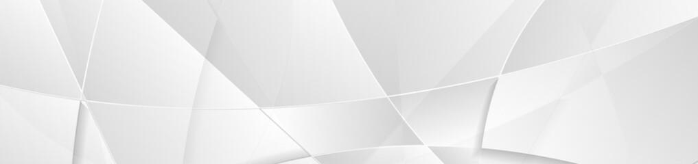 Wall Mural - Light grey minimal polygonal tech abstract banner design. Geometric futuristic vector background