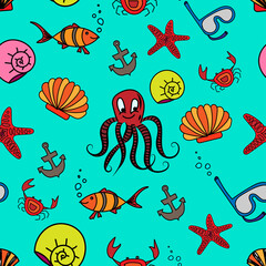 Cartoon seamless pattern with sea inhabitants on a blue background for fabric, wallpaper, wrapping paper.