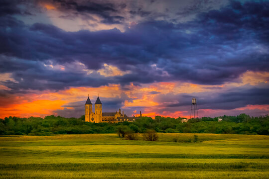 Victoria, KS USA - Panoramic View of Kansas Sunset Sky, Wheat Fields & the Cathedral of the Plains