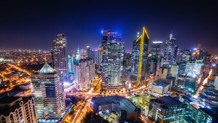 Makati city of Manila, Philippines as business and financial district during night