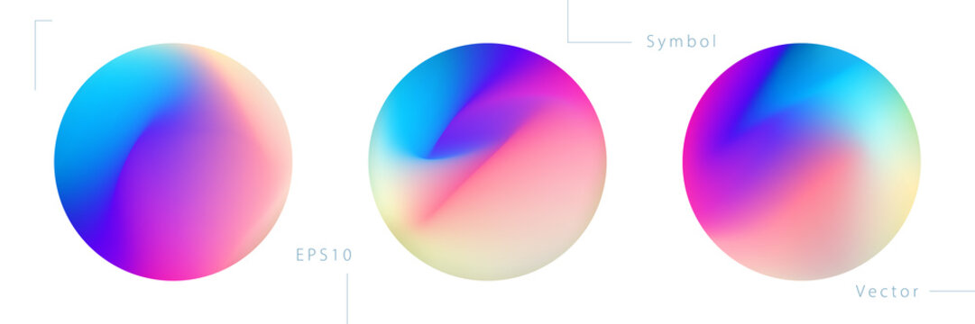 Set of Colorful Circle Graphic Elements on White Background. Abstract Vector Symbols.
