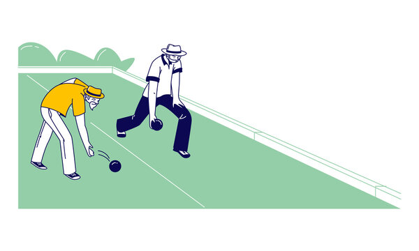Senior Men Playing Bocce or Lawn Bowling Competing with each other. Couple of Elderly Friends Characters Playing Boules in Park Outdoor Area Enjoying Spare Time. Linear People Vector Illustration