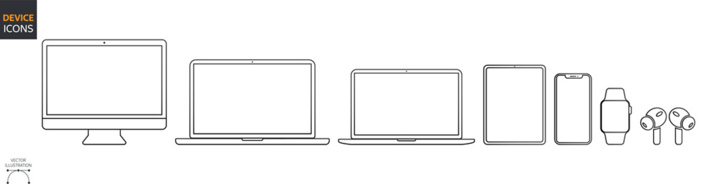 Device Icons Set: Desktop Computer, Laptop, Tablet and Smartphone, Watch, Earpods. Outline illustration for Web and App. Stock Vector