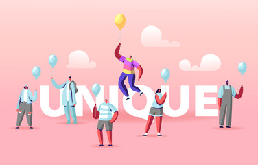 Unique Concept. Male Character in Colorful Rainbow Clothes Flying on Yellow Balloon above Crowd of People Wear Identical Blue Shirts and Balloons Poster Banner Flyer. Cartoon Vector Illustration