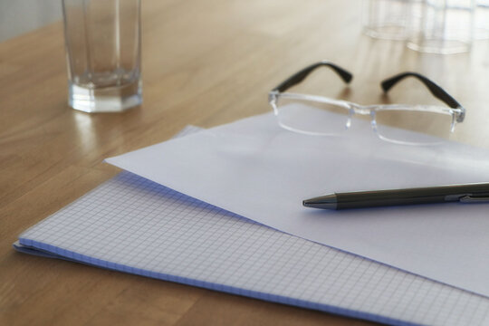 Background with paperwork on a conference table as office scene, copy space