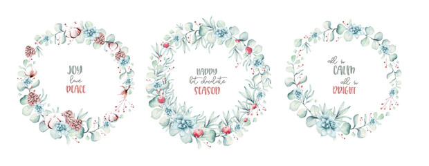 Wall Mural - watercolor holiday christmas wreath. Winter decoration wreathselement. Merry christmas design. Pine tree branch, frame, berries. New year invitation decorative design