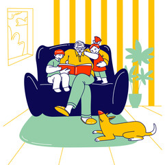 Happy Family Characters Grandparent with Kids Spend Time at Home. Grandfather Reading Book to Children Sitting on Sofa, Boy and Girl Listening, Sparetime, Leisure. Linear People Vector Illustration