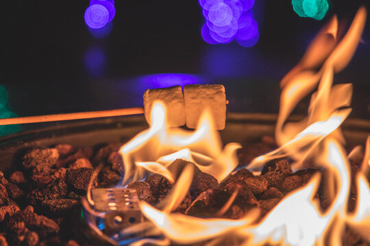 Cooking smores on a campfire