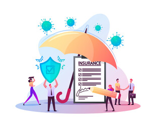 Tiny Characters Fill Health Policy Document under Huge Umbrella. Man Holding Protective Shield. Coronavirus Signing Insurance for Medical Protection, Life Guarantee. Cartoon People Vector Illustration