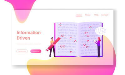 Info Encryption, Coding Landing Page Template. Tiny Characters at Open Book with Text, Man Highlighting Letters with Red Pencil, Woman Enter Information in Mobile. Cartoon People Vector Illustration