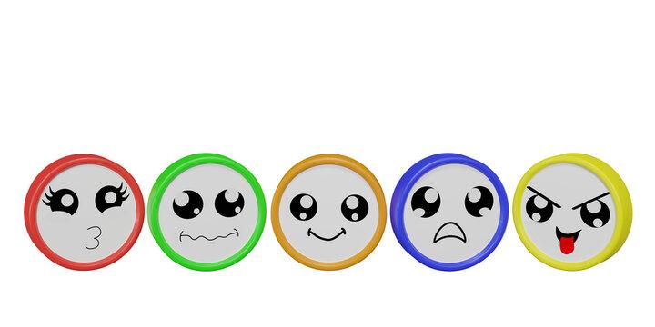 Bunte Emoticons in verschiedenen Stimmungen auf weiß isoliert.