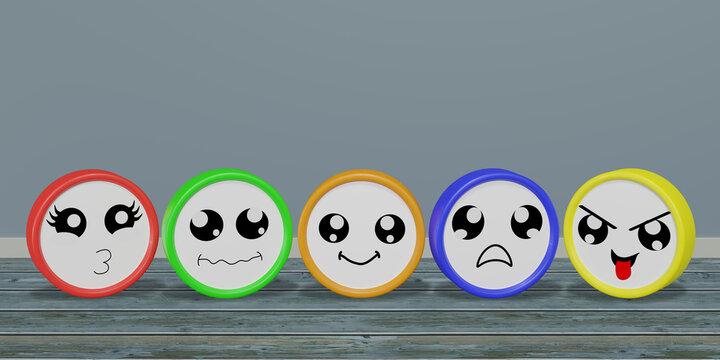 Bunte Emoticons in verschiedenen Stimmungen.