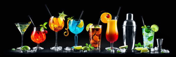 Set of various cocktails with on black background