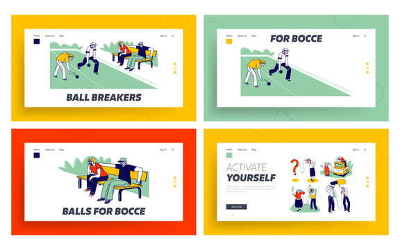 Senior People Playing Bocce, Deaf Phone Landing Page Template Set. Competing each other. Elderly Friends Characters Playing Boules in Park Outdoor Area Enjoying Spare Time. Linear Vector Illustration