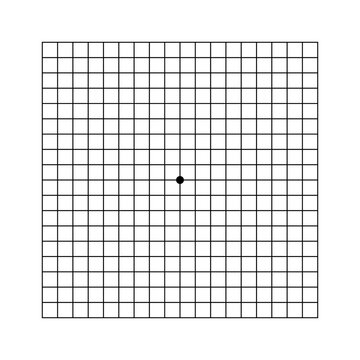 Oculist Amsler eye test grid. Vector printable chart retina examination. Grid with dot in centre. Vision control.