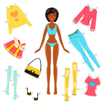 African American Girl Paper Doll with a Set of Clothes