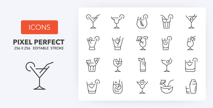 cocktails line icons 256 x 256