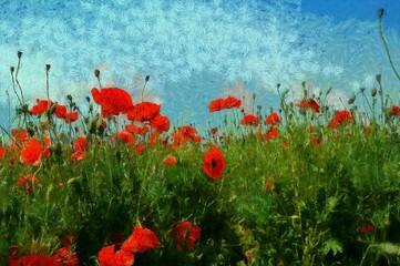 Paintings landscape, poppy field with blue sky