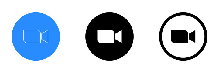 Zoom Video Communications. Zoom logo. Application for video communications with cloud platform for video and audio conferencing, chat, and webinars. Blue camera icon. Kyiv, Ukraine - June 28, 2020