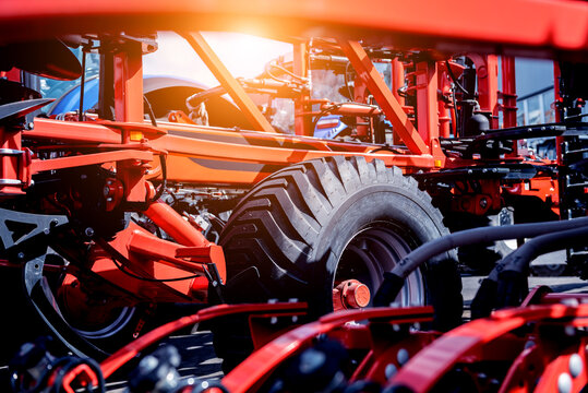 Modern agricultural machinery and equipment. Industrial details.