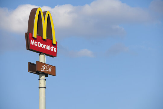 Bispingen, Lower Saxony / Germany - April 29, 2018: Mc Donald's Restaurant sign in Bispingen, Germany - The Mc Donald's Corporation is the world's largest chain of Hamburger fast food restaurants