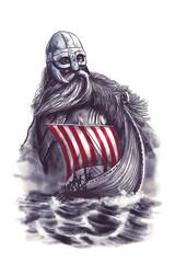 viking warrior and viking ship sailing on the sea - drawing