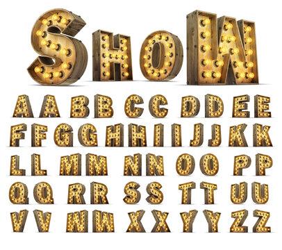 Wood alphabet light bulb 3d rendering illustration.
