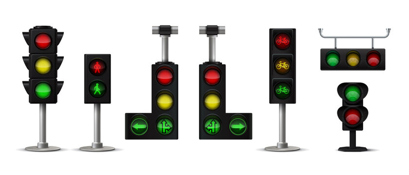 Traffic light. Realistic city stoplight with green yellow and red colors, hanging and standing 3D isolated semaphore with arrows and human icon. Vector set image transport lighting sign