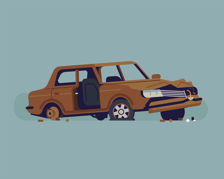Cool vector flat style illustration on abandoned rusty old car wreckage with torn out door, dented hood, no windscreen and glass, no rear wheel