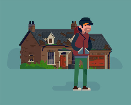 Cool vector illustration on squatter character standing in front of abandoned suburban house with garage