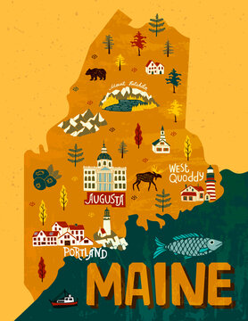 Illustrated map of Maine, USA. Travel and attractions. Souvenir print