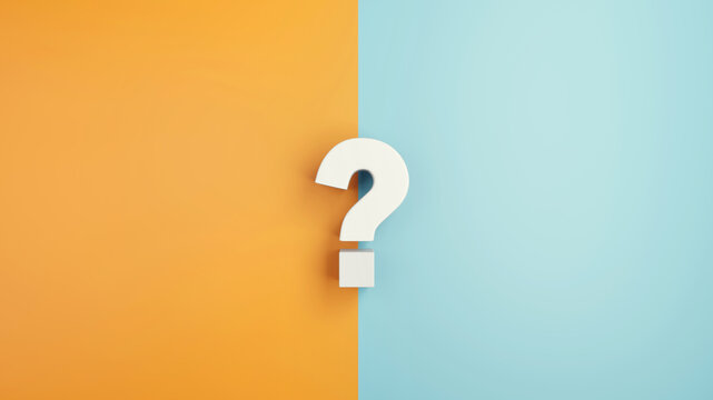 White question mark sign on yellow and blue Background, 3d render, minimal and copy space.