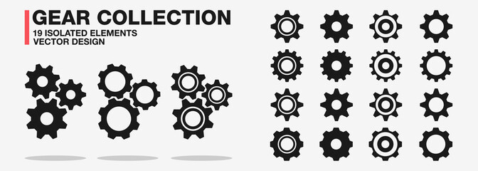 Gears and cogwheel  vector collection icon set – Isolated and group black cog wheels symbol – Setting gears, glyph, outline and filled sign – Flat design illustration