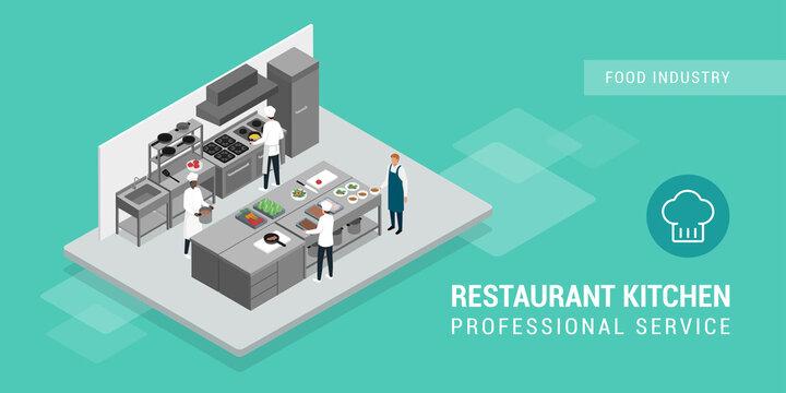 Professional chefs working in the restaurant kitchen
