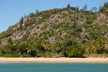 View from sea to idyllic palm fringed tropical beach at Radical Bay, Magnetic Island, Queensland, Australia