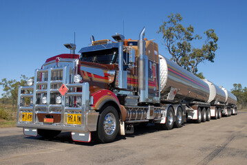 Road train parked at the roadside in the outback, Queensland, Australia