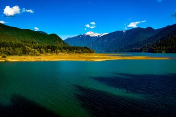 Baker Lake Mt Baker Washington drone video near Concrete Washington Mt Baker fall day Baker Highway Forest