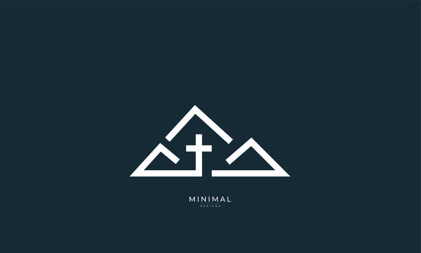 A minimal abstract icon logo of a mountain with a Cross, church