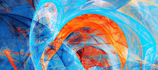 Photo sur Aluminium Fractal waves Abstract painting color texture. Blue and orange pattern. Paint background. Fractal artwork for creative graphic design