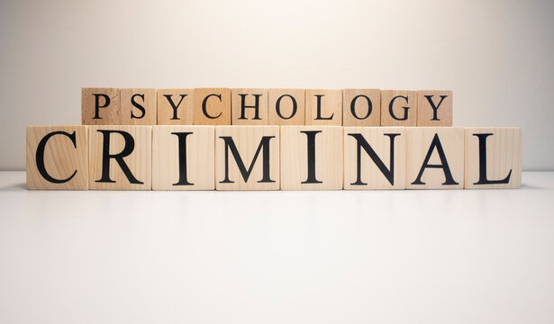 Criminal psychology text from wooden cubes. The term psychology profession.