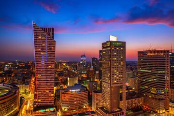 Night view of Warsaw