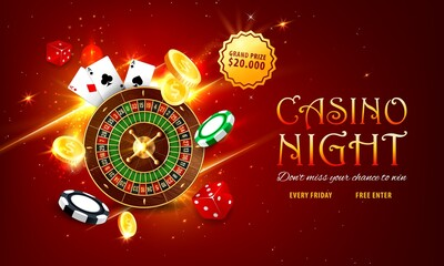 Internet casino landing page. Roulette and poker playing cards, golden coins, grand prize or jackpot sticker, red dice and various chips on sparkling red background. Online casino web vector banner