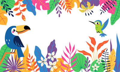 Bright colorful tropical background with cute toucan, hummingbird and place for your text. Vector image is cropped with clipping mask.