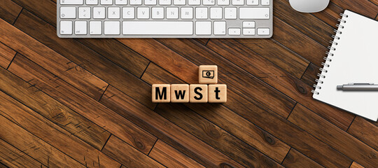 cubes with German abbreviation for VAT on wooden background